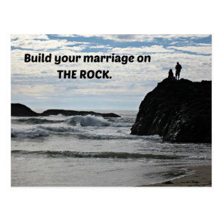 Build your marriage on The Rock. Postcard