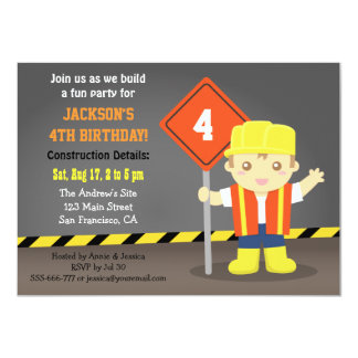 Builder Boy Construction Theme Birthday Party Card