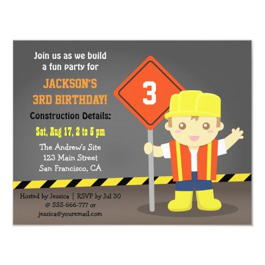 Builder Boy Construction Theme Birthday Party Card