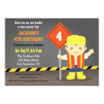 Builder Boy Construction Theme Birthday Party 4.5x6.25 Paper Invitation Card