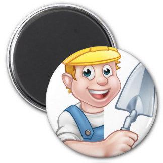 Builder Bricklayer Holding Trowel Tool Magnet