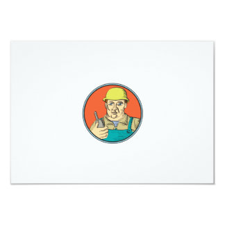 Builder Carpenter Holding Radio Phone Circle Retro 3.5x5 Paper Invitation Card