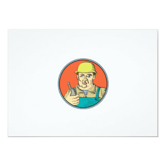 Builder Carpenter Holding Radio Phone Circle Retro 5x7 Paper Invitation Card