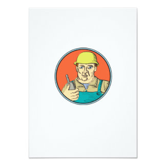 Builder Carpenter Holding Radio Phone Circle Retro 4.5x6.25 Paper Invitation Card