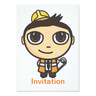 "Builder Cartoon Character Invitation 5"" X 7"" Invitation Card"