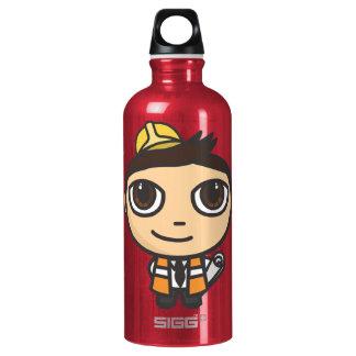 Builder Cartoon Character Liberty Aluminum Water Bottle