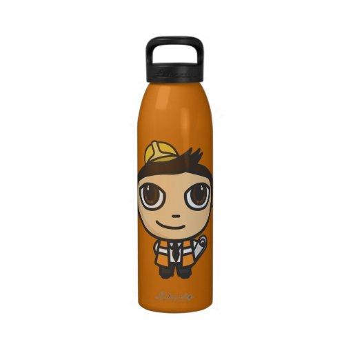 Builder Cartoon Character Liberty Water Bottle