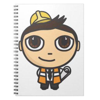 Builder Cartoon Character Notebook