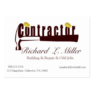 Builder Constructing Contractor Large Business Card
