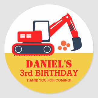 Builder Excavator Kids Birthday Party Stickers
