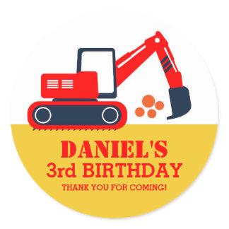 Builder Excavator Kids Birthday Party Stickers
