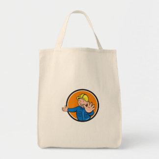 Builder Hand Stop Signal Circle Cartoon Tote Bag