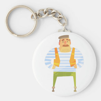 Builder In Cap On Construction Site Keychain