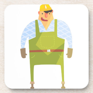 Builder In Hard Hat On Construction Site Coaster