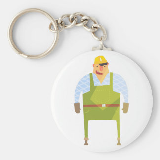 Builder In Hard Hat On Construction Site Keychain