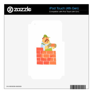 Builder Laying A Brick Wall On Construction Site iPod Touch 4G Skins