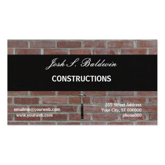 Builder Mordern Simple Brick Wall Construction Double-Sided Standard Business Cards (Pack Of 100)