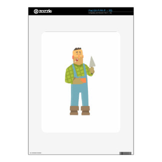 Builder With Brick And Trowel On Construction Site Decal For iPad