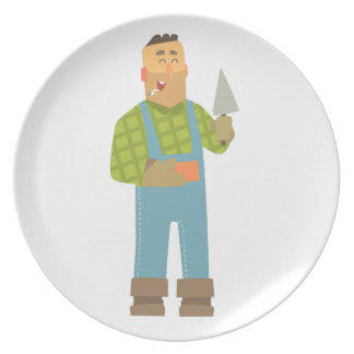 Builder With Brick And Trowel On Construction Site Plate