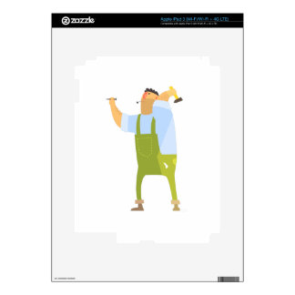 Builder With Hammer And Nails On Construction Site Decals For iPad 3