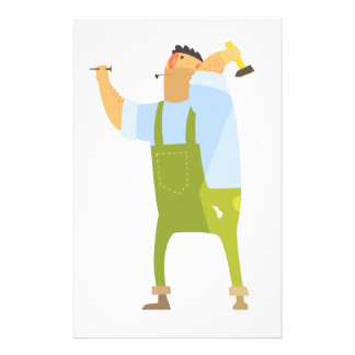 Builder With Hammer And Nails On Construction Site Stationery