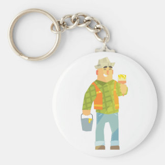Builder With Paintbrush And Bucket On Construction Keychain