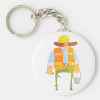 Builder With Trowel And Bucket On Construction Keychain