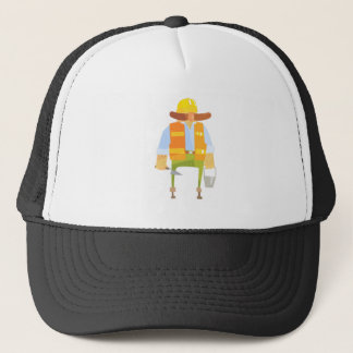 Builder With Trowel And Bucket On Construction Trucker Hat