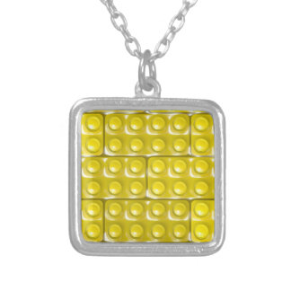 Builder's Bricks - Yellow Silver Plated Necklace