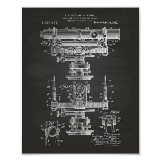 Builders Level 1922 Patent Art Chalkboard Poster