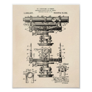 Builders Level 1922 Patent Art Old Peper Poster