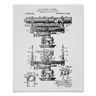 Builders Level 1922 Patent Art White Paper Poster
