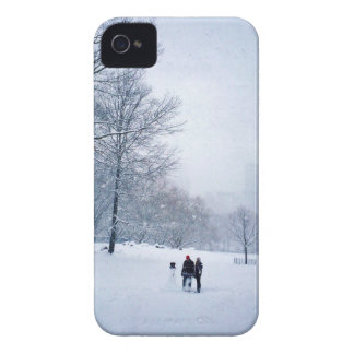 Building A Snowman In Central Park iPhone 4 Cover