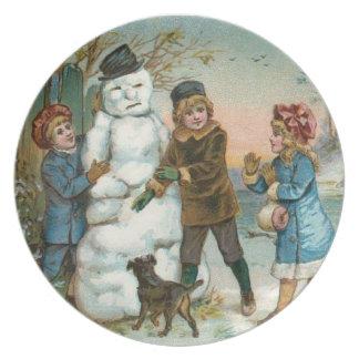 building a snowman plate