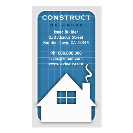 Cool White and Blue Home Icon Blueprint Building and Construction Business Cards