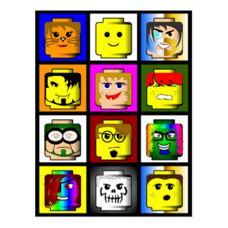 Building Block Heads postcard