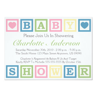 Building Blocks Baby Shower Invitiations (Green) Card