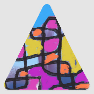 Building Blocks Blue Orange Pink Purple Yellow Triangle Sticker