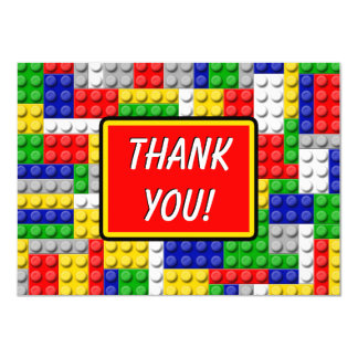 Building Blocks Boys Birthday Party Thank You Note 4.5x6.25 Paper Invitation Card