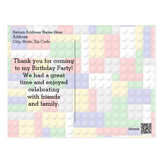 Building Blocks Boys Birthday Party Thank You Note Postcard