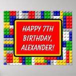 Building Blocks Bricks Boy's Birthday Party Banner Poster