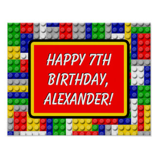Building Blocks Bricks Boy's Birthday Party Banner Poster