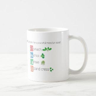 Building blocks for a peaceful mesclun salad coffee mug