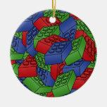 Building Blocks Illustration - SINGLE-SIDED Double-Sided Ceramic Round Christmas Ornament