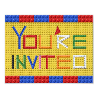 Building Blocks Invitation in Primary Colors