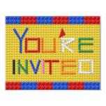 """Building Blocks Invitation in Primary Colors 4.25"""" X 5.5"""" Invitation Card"""