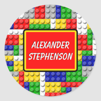 Building Blocks Personalized Boy's School Label