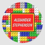 Building Blocks Personalized Boy's School Label Classic Round Sticker