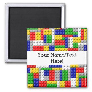 Building Blocks Primary Color Boy's Birthday/Party 2 Inch Square Magnet
