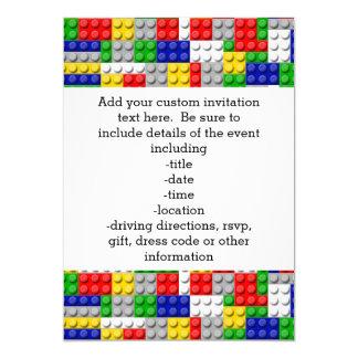 Building Blocks Primary Color Boy's Birthday/Party 5x7 Paper Invitation Card
